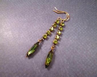 Brass Gold Dangle Earrings, Vintage Rhinestone Earrings, Olive Green Glass Drop Earrings, FREE Shipping U.S.