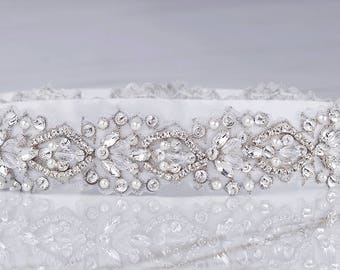 Ceinture de strass, ceinture de mariée, mariée Sash, ceinture nuptiale perlée, robe de mariée ceinture, ceinture de cristal, ceinture, ceinture Perle en argent