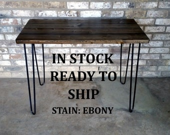 """Desk, 39""""Lx20""""Wx30""""H, Dorm desk, computer desk, small desk, reclaimed wood, hairpin legs, in stock, ready to ship"""