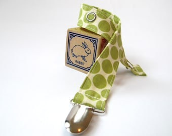 Green and Cream Pacifier Clip - Amy Butler - Full Moon Polka Dots in Lime - Lotus Collection by Amy Butler