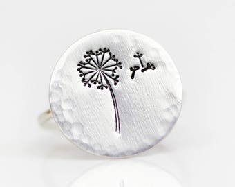 Dandelion Jewelry / Dandelion Ring / Gift for Her / Inspirational Jewelry / Graduation Gift / Sterling Silver Ring / Spring / May