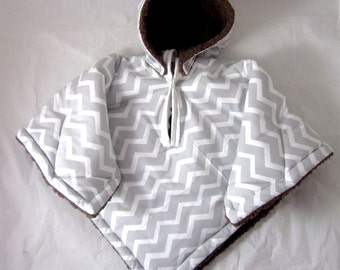 Car Seat Poncho 4 Kozy Kids(TM) pockets, double sided, reversible, opt to add detachable hood & batting, safe, warm-gray white chevron brown