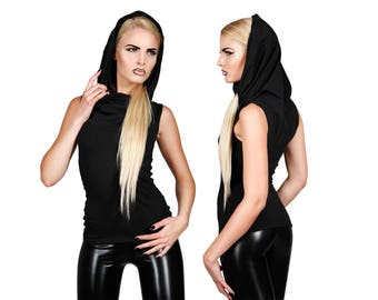 Black Hooded Top, Hooded Tank Top, Minimalist, Post Apocalyptic, EDC Costume, Burning Man Clothes, Ravewear, Cyberpunk Clothing, Lena Quist