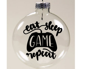 Eat Sleep Video Game Repeat Gamer Clear Glass Disc Ornament Christmas Holiday Black Friday Jenuine Crafts