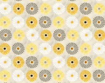 Little Grey, Yellow and White Flowers On The Diagonal, Felicity for Wilmington Prints, Modern Spring Quilt Fabric By The Yard 42378 915