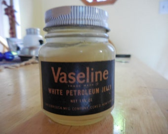 Vintage 1950s to 1960s Embossed Bottom Glass Vaseline Jar with Blue Lid Chesebrough Bathroom Decor