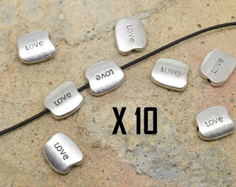 10 x Pearl Pebble puck text word LOVE silver metal