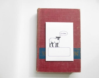 Sheep book plate stickers. Ex Libris bookplates, set of 17 plus envelope. Custom printing option. Personalized gift for book lover.