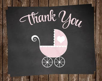 Chalkboard, Baby Shower Thank You Cards, Carriage, Girl, Pink, Purple, Vintage, Antique, Blackboard, 20 Printed Notes, FREE Shipping