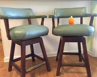NAILHEAD SWIVEL STOOLS-Pair- by Ephriam Marsh, Mid Century Vintage Bar Stools, Regency, Palm Beach Chic, Tavern  at Modern Logic