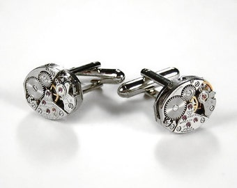 Mens Cufflinks Vintage Watch Oval Cuff Links Wedding Anniversary Groom Fathers Day, Fiancee Cufflinks Gift - Steampunk Jewelry by edmdesigns