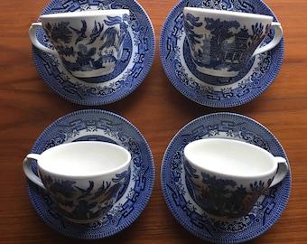 Churchill China Blue Teacup & Saucers