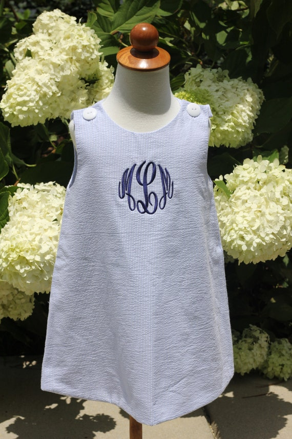 Girls Blue Seersucker Jumper Dress, Monogram Included