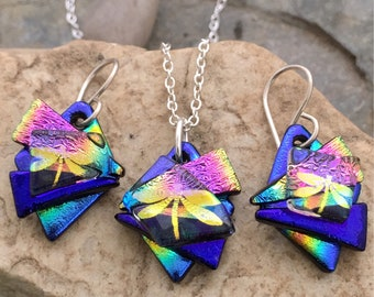 Unique 3D Dichroic Glass Earring and Small Pendant Matching Set Pretty Rainbow