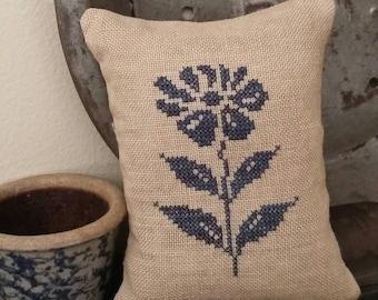 primitive cross stitch sampler FLOWER Blue GLAZED STONEWARE inspired pin pillow D3-4