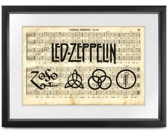 LED ZEP Zoso Runes Art Print 1820 Antique Shape Notes Hymnal Song Book Page - Pre Civil War / Georgian Era - Rock & Roll meets History