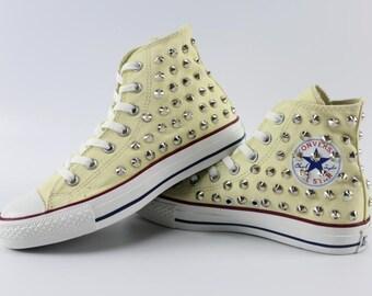 Punk Converse Shoes SliverRivet high top converse beige sneaker Bridal Flower Girls Prom Sneaker Shoes Silver/Gold Ribbon Steampunk