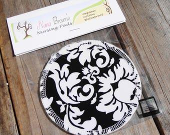 Reusable Nursing Pads, Waterproof Organic Cotton Flannel - Black & White Damask