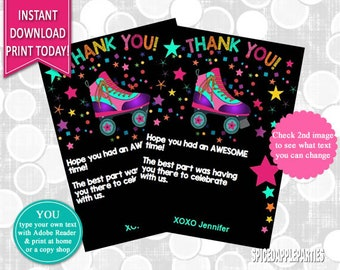 Thank You Card | roller Skating, Roller Skate, Thank You, Thank You Cards, Thank You Notes, Party Thank You Card, Birthday Thank You Note