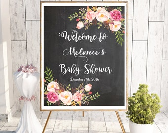 Baby Shower Welcome Sign, Baby Shower Chalkboard Sign, Printable Baby Shower Welcome Sign, Watercolor Baby Shower Welcome Sign, Customizable