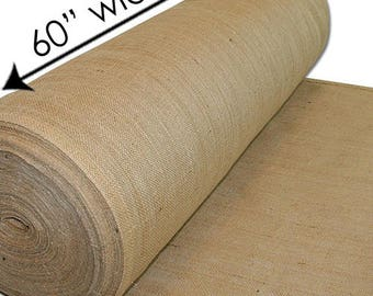 60-Inch Wide Natural Burlap Premium Vintage Jute Burlap Fabric for Upholstery, Crafts, Decor, DIY Projects, Gardening