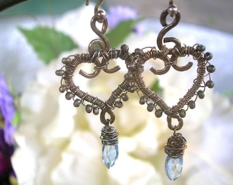 SHOWY BLUE IRIS - Heart Earrings - Sterling, Blue Quartz marquises, Thai handmade beads