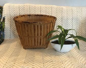 Large Two Tone Wicker Basket