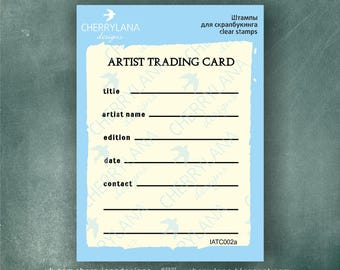 ATC ACEO stamp Artist Trading Card Back rubber clear photopolymer