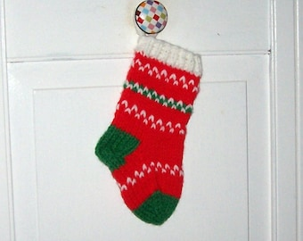 Christmas stocking ornament hand knit miniature