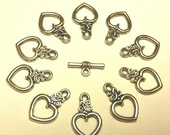 Heart Toggle Clasp - 12 sets -Tibetian Silver - Silver Clasps  - Bracelet Clasp - Necklace Clasp - Celtic Clasps - Antique Silver Clasps