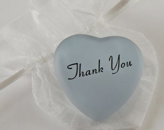 Frosted Heart Word Stone - Thank You
