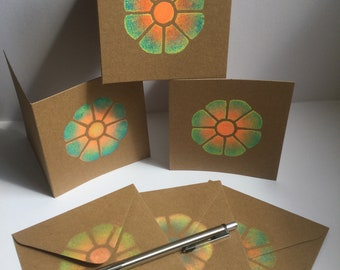 Handmade cards, Recycled card stock, Cute, Flower, Motif, Colourful, Designer, Gift, Greetings, Stencilled, Hand printed, Original, Irish