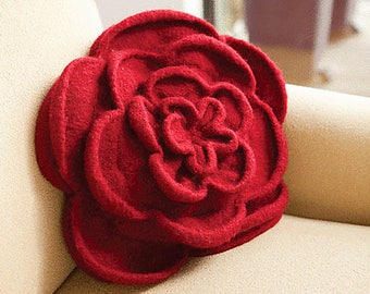 Felted Rose Pillow (or Purse) Knitting Pattern