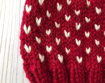 Red Chunky Knit Fair Isle Hat / Ready to Ship /