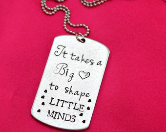 It takes a big heart Hand stamped necklace