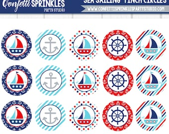 "INSTANT DOWNLOAD Nautical Ocean ""Sea Sailing"" 4x6"" 1"" Inch Bottle Cap Image/Digital Collage sheet"