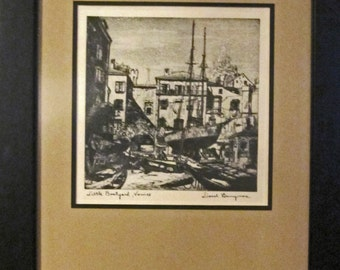 "Lionel Barrymore framed ""Talio-crome"" Etching"