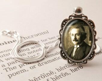 Albert Einstein Pendant Necklace, Einstein Jewelry, Gift For Genius, Theoretical Physics Pendant, Genius Necklace, Albert Einstein Jewellery