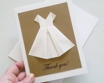 Wedding Thank You Card: White Dress Card - Handmade Origami Card - Wedding Card - Minimalist - Mother of the Bride - Maid of Honor - Matron