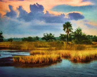 Marsh landscape on Canvas, Marsh Painting,Sunset, Water View, Intracoastal, Large Art, Coastal Art Print, Beach House, Coastal Decor, Marsh