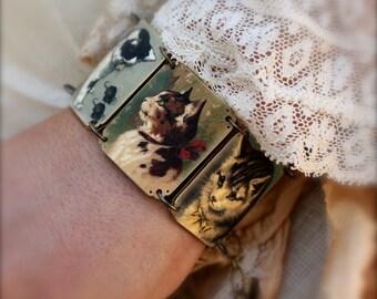 Cat Bracelet - Kitty Bracelet - Vintage Cat Bracelet - Cat Jewelry - Cat Lady - Shrink Plastic - Victorian Cat Image - Cat
