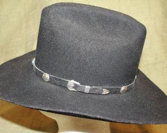 Vintage  Custom Made Bee Hats  Wool Western Black Felt  Men's Cowboy Hat Size 7 1/8  57cm