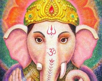 Ganesh spiritual meditation art elephant Buddha India Hindu God Ganesha print poster of painting