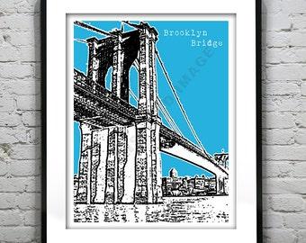 Brooklyn Bridge Poster  Art Print New York Manhattan NYC