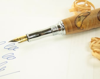 wooden fountain pen, intarsia, handmade ink pen in bambo and spalted beech, present for graduation, retirement, birthday