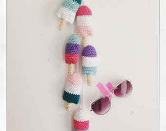 ICECREAM BUNTING, CROCHET Pattern, Crochet, Icecream, Kids Decor, Home Decor, Summer Crochet, Party Decoration,Popsicle, Amigurumi Pattern