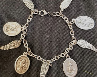 Angelic Wing Bracelet 4 Archangels 5 Wings Bracelet w Archangels Michael, Raphael, Gabriel, and Uriel, Spiritual Healing Protection