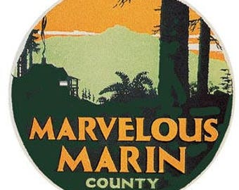 Vintage Style Marvelous Marin County CA  California Travel Decal sticker
