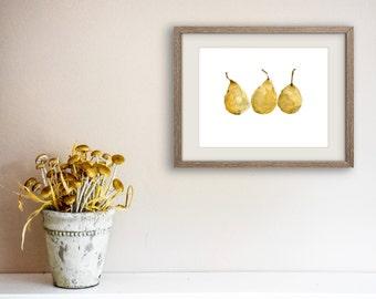 Yellow Pears art Print, watercolor painting ,kitchen art, pears still life, botanical print, golden yellow, minimalist print, fruit art