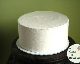 """8"""" round faux cake, plain icing fake cake for photo shoots and home staging. Wedding cake topper display, food prop. Theatrical prop"""